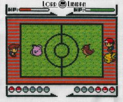 Pokemon Battle! Cross Stitch by LordLibidan