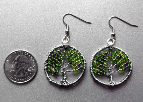 Purple and Green Mix Tree of Life Earrings by craftymama