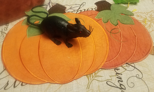 Plastic Rat on Pumpkin Placemat by Silvermoonlight217