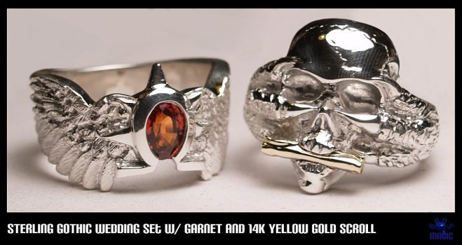 Sterling Gothic Wedding Set by EagleWingGallery