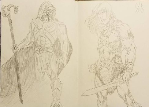 Skeletor and He-man by andyosu20