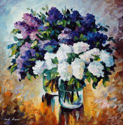 FIRST LILACS by Leonid Afremov by Leonidafremov