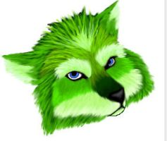 Green wolf by Skychaser
