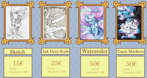 Traditional Commission Price List by CutePencilCase