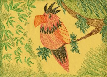 tropical crayon bird by Talec