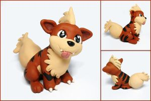 Silly Growlithe Sculpture by LeiliaClay