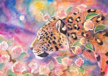 Leopard with Blossom 2 by dawndelver