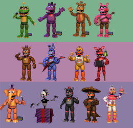 FNaF 6 - All Animatronics by LUVUS-7