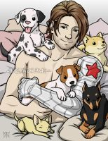 Commission - Bucky and pups by DeanGrayson