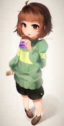 Small Chara eating MTT Chocolate by Sasoura