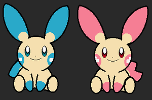 Minun and Plusle by lossetta932