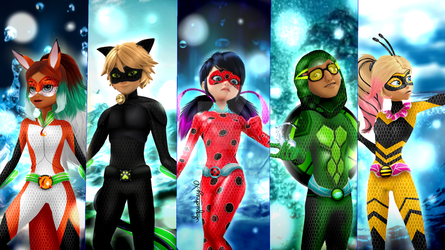 Aqua Transformation of the Heroes by Squidney-XD