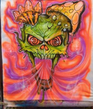 Trippy Airbrush Skull by vudumonkey25