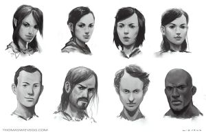 Face sketches2 by thomaswievegg