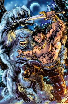 Conan against a Wendigo colored by gammaknight