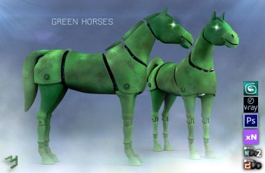 Green Horses by ZICIONEL