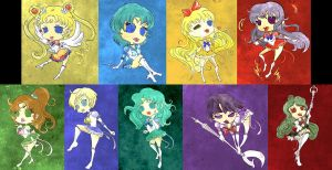 Sailor Scouts Chibi by thejes