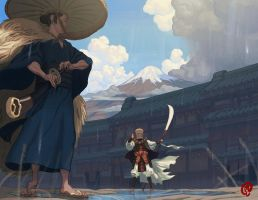Samurai and Warrior Monk by Changinghand