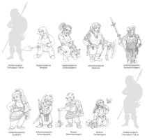 Dwarf Girls by kaffeezombie
