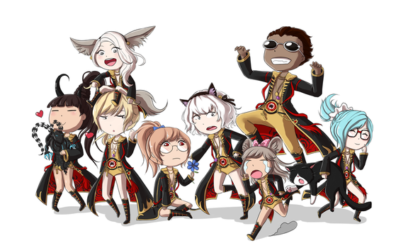 BnS commission: chibi group picture by tsuuyan