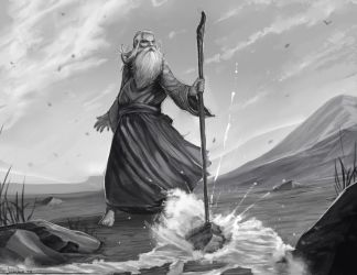 Moses striking the rock by Josiahj