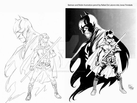 Batman and Robin ilustration ink sample Jonas Trin by JonasTrindade