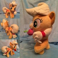 cross-legged Apple Jack plush (sold) by BubbleButtPlush