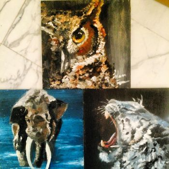 Set of 3 Animal Paintings by lifanonline