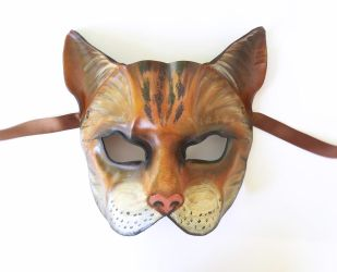 Cat Leather Mask tabby house cat by teonova