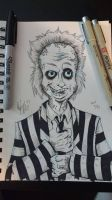 Inktober 2/31 - Beetlejuice by OuthouseCartoons