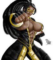 BLACK POWER! - Shocktra | Commission by The-Muscle-Girl-Fan