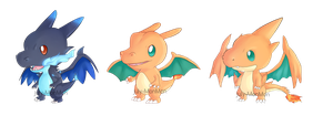The three Charizard chibis~ by July-MonMon
