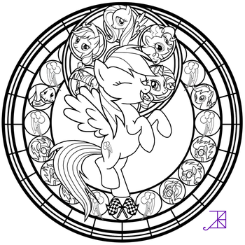 Stained Glass: Rainbow Dash -line art- by Akili-Amethyst
