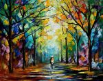 Golden alley by Leonid Afremov