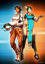 OW - Symmetra and Chell by oNichaN-xD