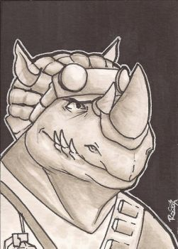 Rocksteady Sketch Card by Ross-A