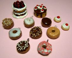 Doughnut charms and cakes by Gimmeswords