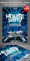 A4 House Party Club Flyer 4 in 1 by Ondrejvasak