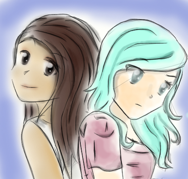 My nameless OC and her friend by Thira-Gerard