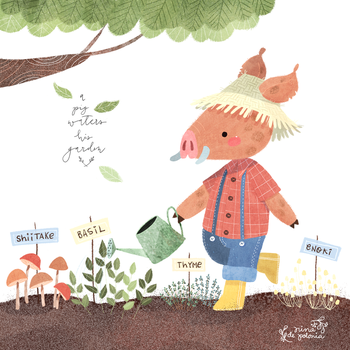 A Pig Waters His Garden by ninyanernel
