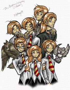 The Brothers Weasley + Sister by Buuya
