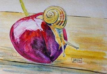 World Watercolor Month - Day 26 (Cherry Snail) by Harmony1965