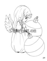 Ornament Angel - FREE COLORING PAGE by Katerina-Art