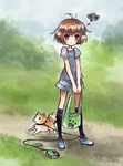 A Girl and Her Dog by SilverChaim