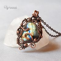 One of a kind wire wrapped Labradorite pendant by artual