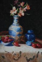 vase and strawberries by heartbeattttt