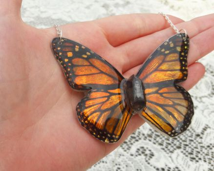 Monarch X Necklace by KristenJarvisART