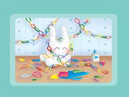 Bunny and paper garlands by jkBunny