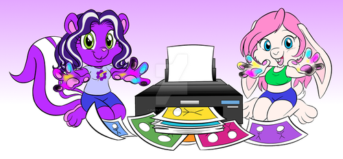 Tinker Skunk and Smurgen Bunny Printing! by purpletinker