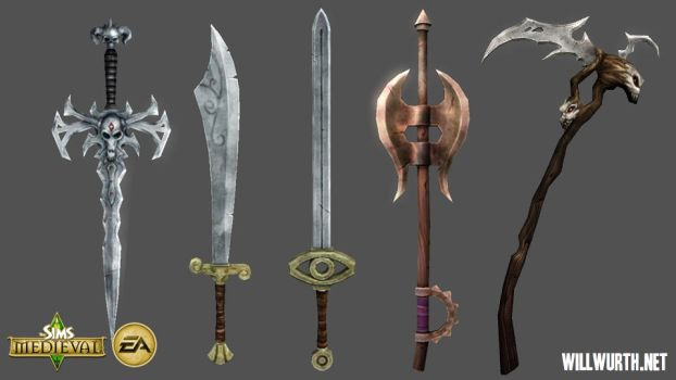 The Sims Medieval - Weapons by DeadXIII